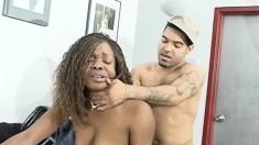 Wild black nympho picks up a hung ebony stud and fucks his hard cock