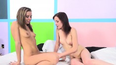 Nora Nova and Jasmine Wolff engage in a hot threesome with a hung stud