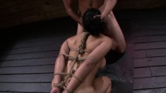 Mia Li Is Tied Up And Face Fucked Hard, Drilled And Gets A Facial