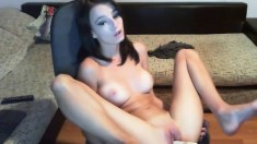 Madeline Sensual Brunette Teen Toying Pussy With A Vibrator