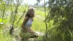 Blonde Exciting Outdoor Masturbation