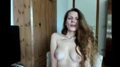 Blonde hairy wife masturbating on webcam