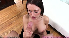 Pleasing That Cock With Great Desire, She Happily Welcomes A Huge Load In Her Mouth