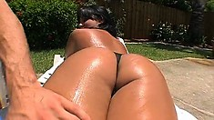 Hot babe Dasani Lezian gets her nice ass felt up and shows her holes