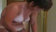 Enjoy my cute hairy mom fully nude. Hidden cam