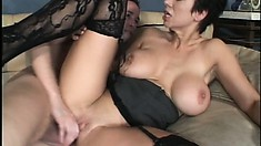 Stacked cougar in black stockings Isabella Rose has a young stud banging her cunt deep
