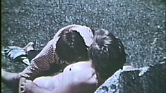 Vintage gay porn of guys romping around the park and sucking cock