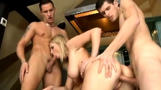 Busty blonde milf joins two guys for a hot threesome