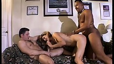 S Mitchell goes at a black cock and another dude while her hubby watches