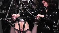 Helplessly bound crossdresser gets tortured by his mean mistress
