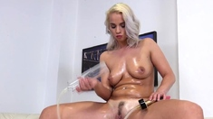 Lubed stunner playing with sex toys