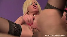 Sindi Star, a busty blonde lady in sexy black stockings, needs to get banged hard