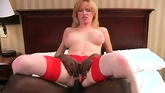 Buxom Blonde Wife In Lingerie Impales He