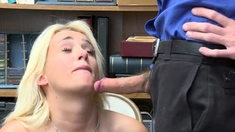 Teen shoplifter Daisy Lee punish fucked by cop on CCTV