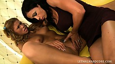 Hot MILF gets the younger pussy she has been wanting for so long, wet and juicy