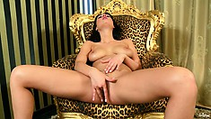 Princess chair for a hot, busty brunette giving it the honor of pink slit