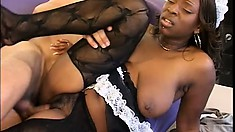 He Gets Turned On Watching His Cute Black Maid Shaking Her Ass