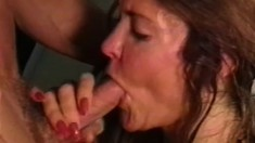 Lustful lady in sexy lingerie gets fucked by a young stud on the floor