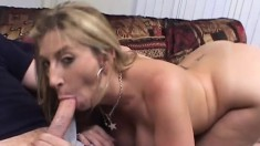 Chubby blonde babe with huge curves gets jammed by a monster cock